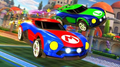 Samus e Mario in Rocket League