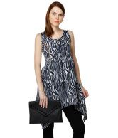 Yepme Black & White Stacy Floral Asymmetrical Hem Tunic