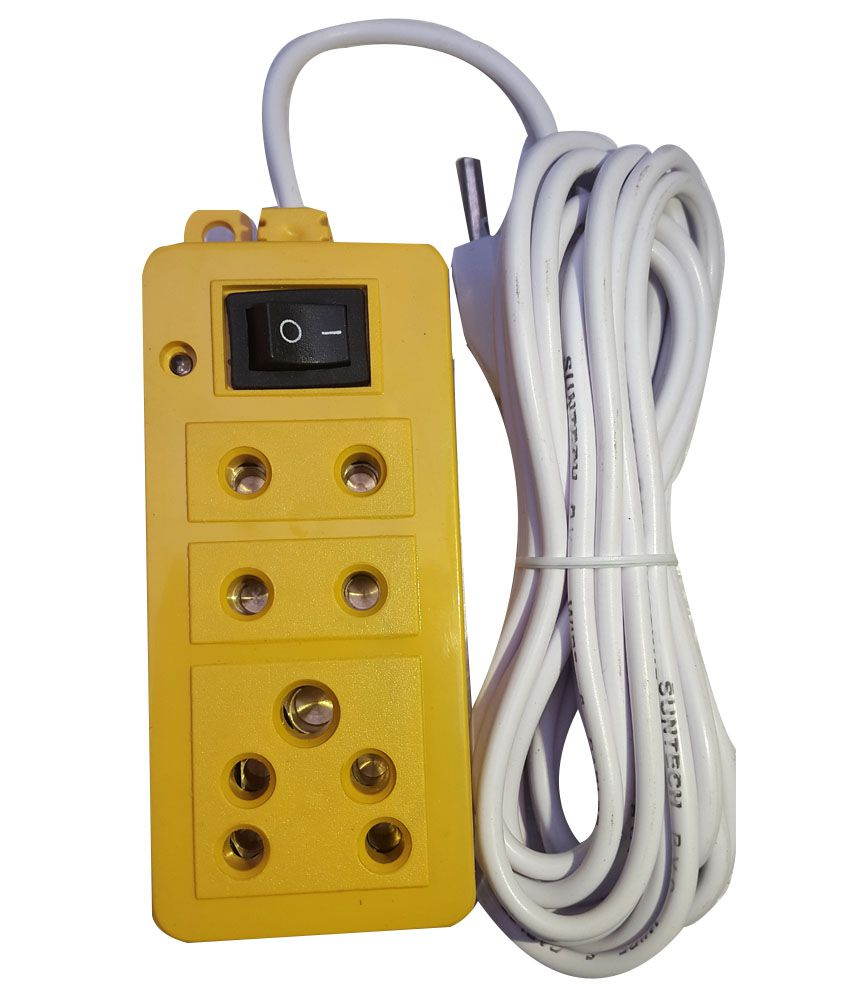 medium resolution of buy lkc yellow plastic extension cord with 4 yards wire online at low price in india snapdeal