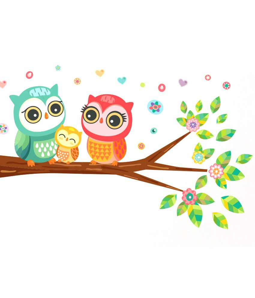 Cute Owl Decor Stickerskart Best Selling Big Eyed Cute Owl Family Wall Decor Multicolour 60x45 Cms