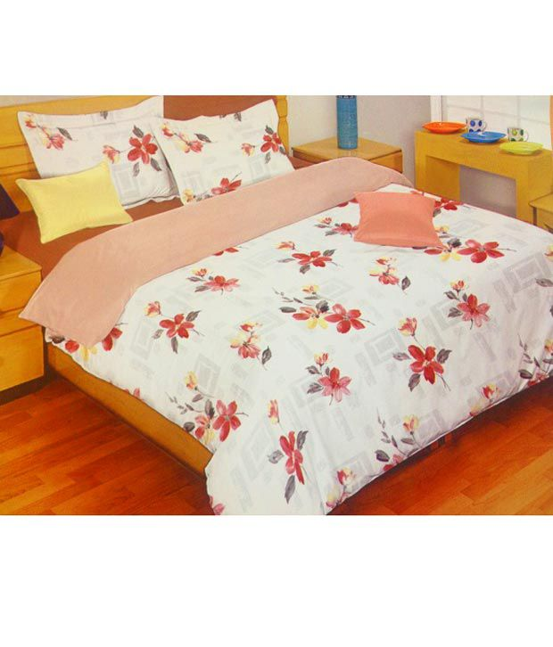 Bombay Dyeing Floral Red Bed Sheets Buy Bombay Dyeing