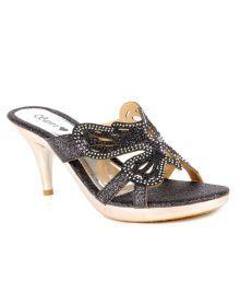 Do Bhai-ShoeBazaar Shimmery Black Butterfly Pattern Slip-on Heels