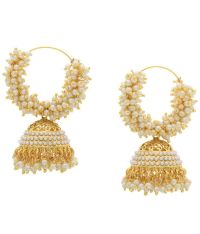 Hyderabad Jewels White & Golden Hoop Earrings - Buy ...