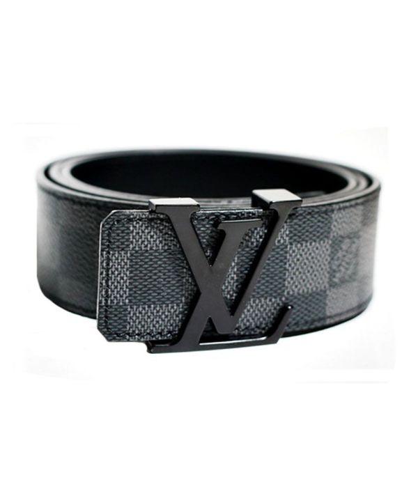 Louis Vuitton Black-grey Leather Belt Black Buckle
