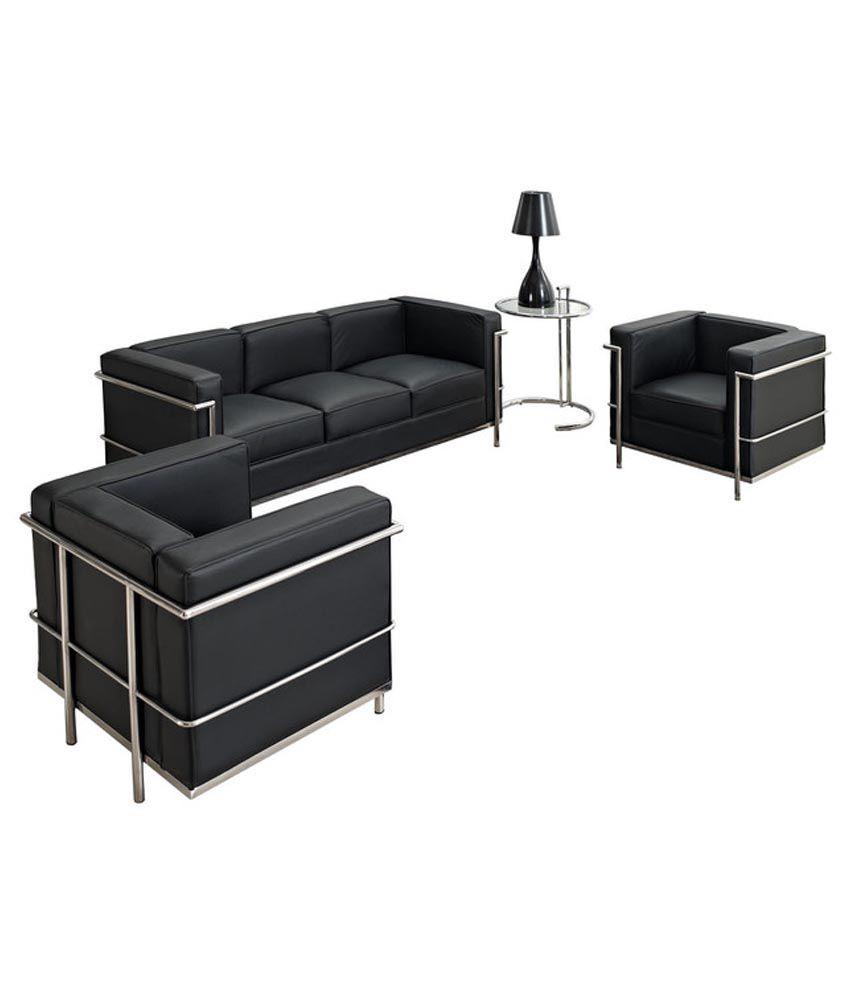 steel frame sofa set 50 off black leatherite 5 seater buy