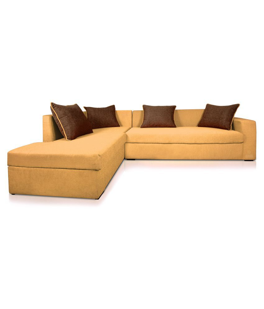 leather vs fabric sofa india armrest table dolphin cairo l shape right set beige brown buy