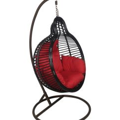 Hanging Chair Swing How To Protect Wood Floors From Chairs Outkraft With Cushions Stand Black Color