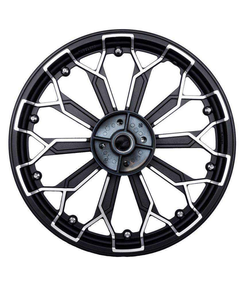 Autofy Porado 10 Spokes 3D Silver Studs Black & Chrome