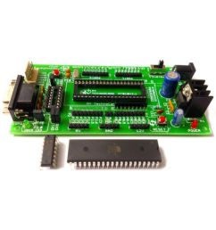 my technocare atmel 8051 development board project evaluation kit max232 at89s52 microcontroller ic  [ 850 x 995 Pixel ]