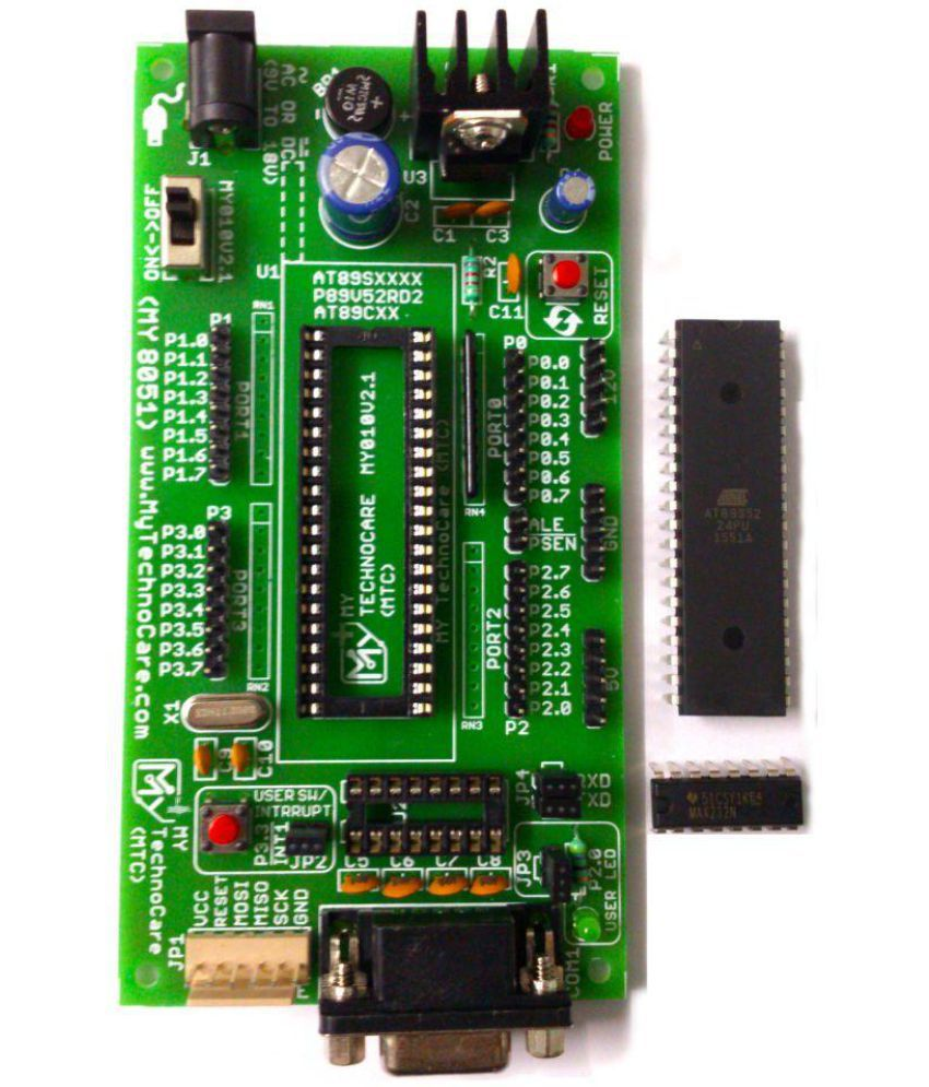 medium resolution of  my technocare atmel 8051 development board project evaluation microcontroller kit max232 at89s52 ic