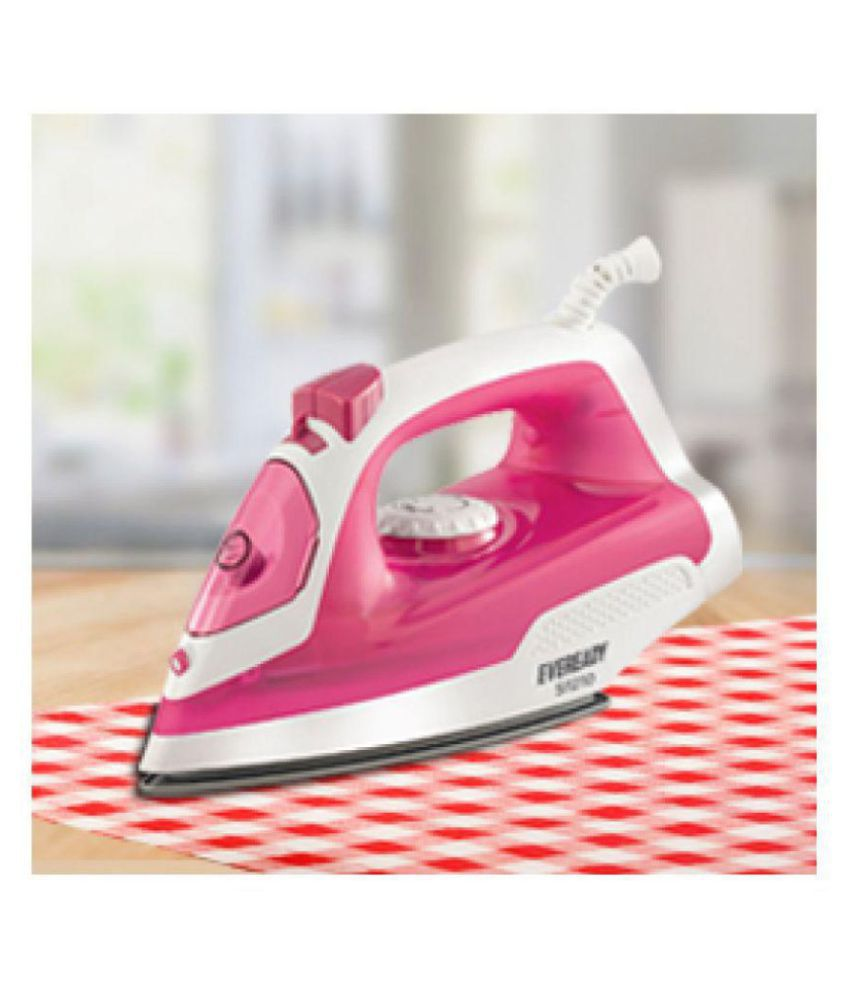 Eveready SI1210 Steam Iron white and pink