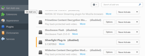 The Firefox add-in screen with all plugins disabled. Just like it should be.