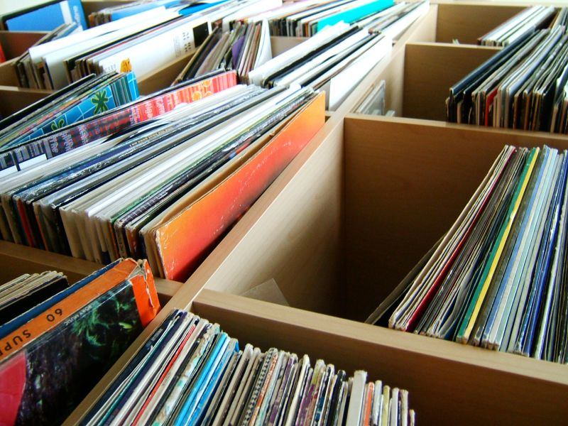 Boxes and boxes of vinyl records.
