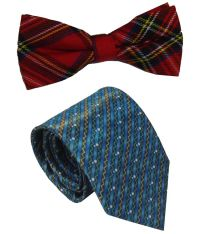 Leonardi Affordable Set of Blue Broad Necktie & Red Bow ...