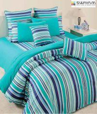 Swayam Turquoise Blue Striped Bed Sheet Set - Buy Swayam ...