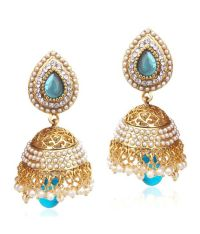 Ethnic pearl jhumka earrings with turquoise firozi stones ...