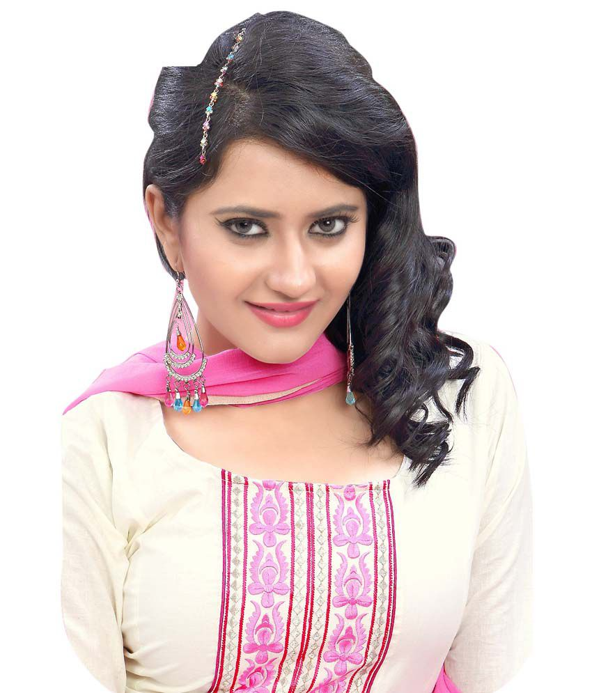 Desi Girl White And Pink Embroidered Cotton Silk Dress Material