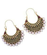 Hyderabad Jewels Golden & Red Hoop Earrings - Buy ...