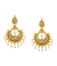 Hyderabad Jewels White & Gold Long Chand Bali Hanging ...