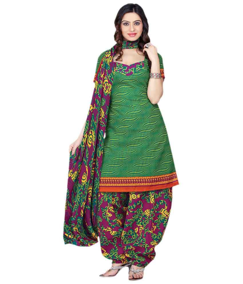 Yomeeto Green Cotton Dress Material - Buy Yomeeto Green ...