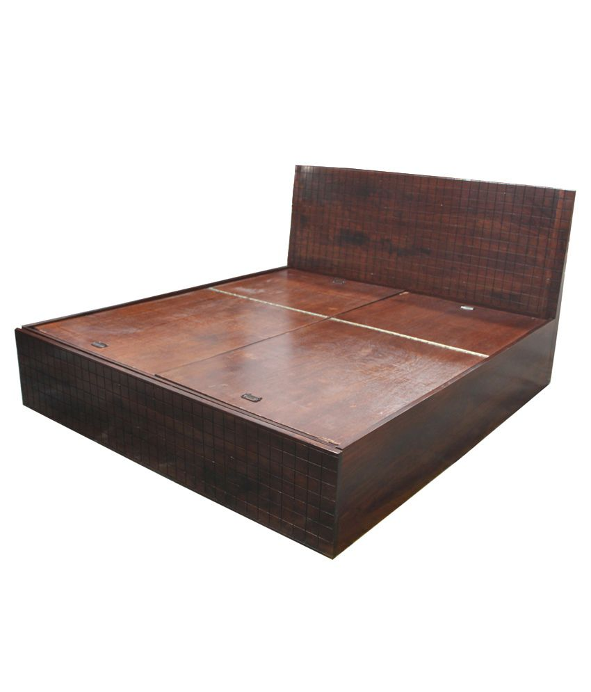 Solid Wood King Size Bed with Storage  Buy Solid Wood