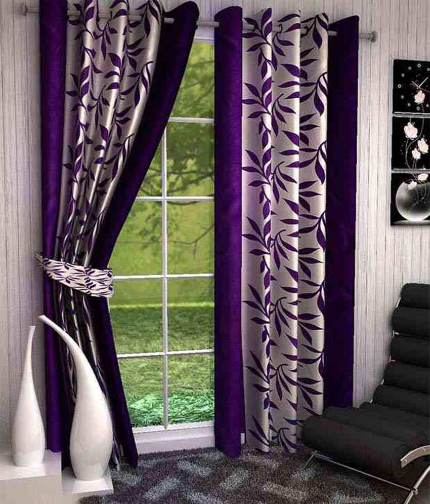 Bsb Trendz Purple & White Polyester Window Curtains Set Of 2