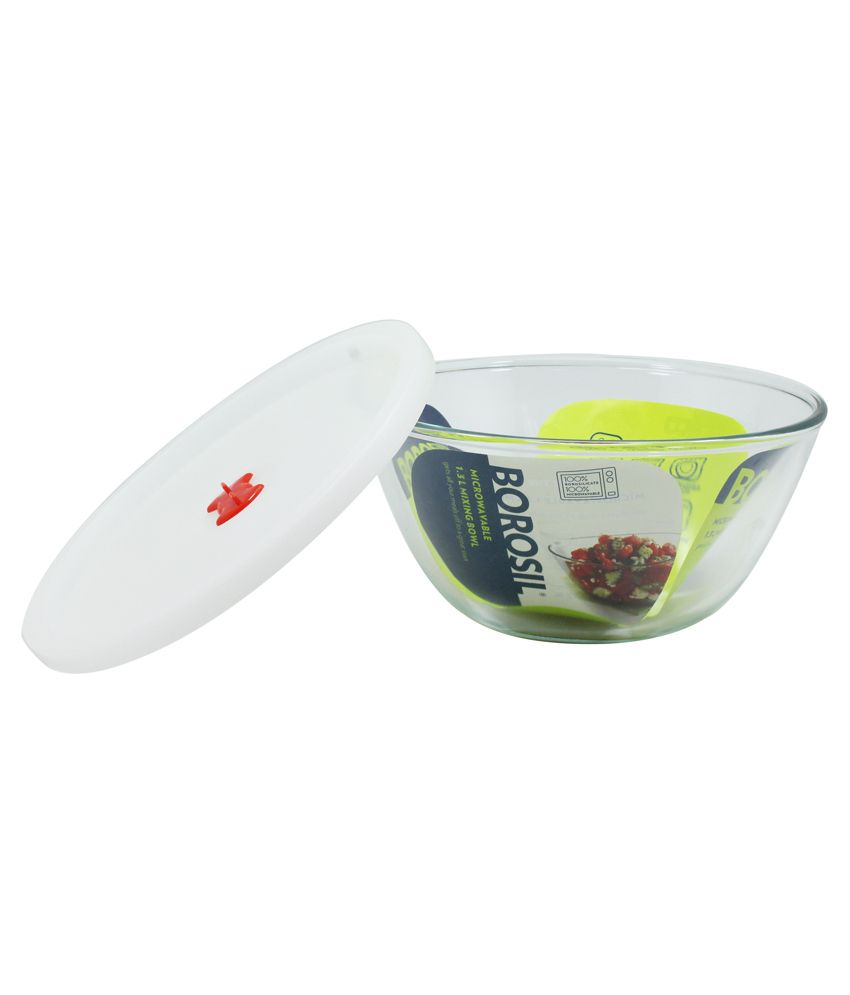 Borosil Mixing Bowl With Plastic Lid 1.3 L: Buy Online at