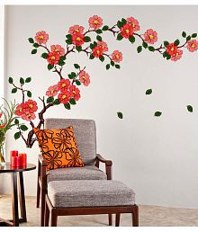 wall stickers living room modern design ideas in the philippines 3d and decals online upto 50 off quick view stickerskart multicolor floral branch sofa background antique flowers vinyl art