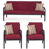 Furniturekraft Metal 3+1+1 Sofa Set- Maroon - Buy ...