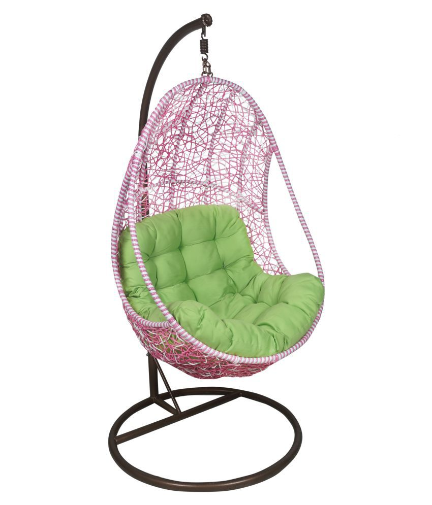 buy chair swing stand fishing bag outkraft hanging with cushions pink white color
