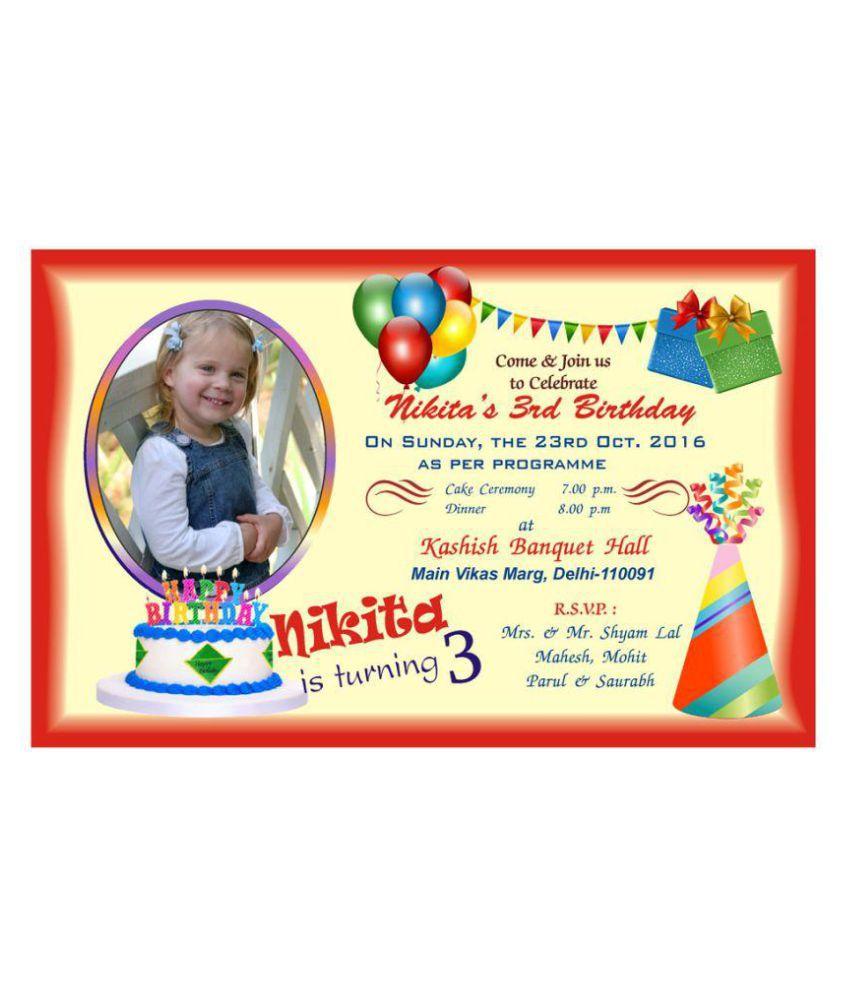 personalised birthday invitation card pack of 50 pcs