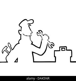 A black handyman mechanic or plumber cartoon character