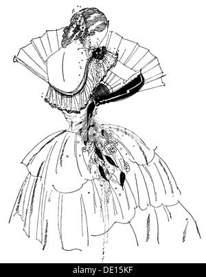 fashion 19th century woman in dress with crinoline wood