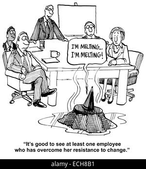Business cartoon about a team leader who finally has a