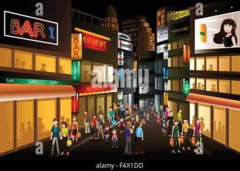 shopping night busy vector center illustration cartoon alamy similar street clip