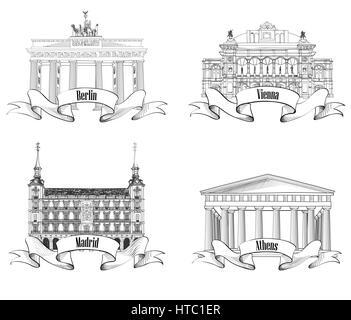 European city: Athens, Berlin, Madrid, Vienna. Landmarks