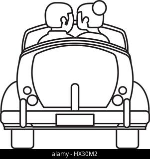 couple car just married outline Stock Vector Art