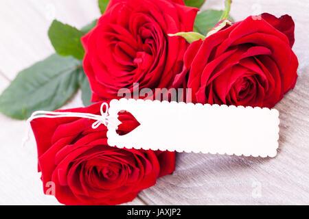 Rote Rosen mit Herz Stock Photo Royalty Free Image
