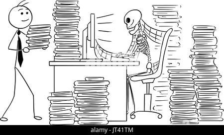 Cartoon vector illustration of forgotten human skeleton of