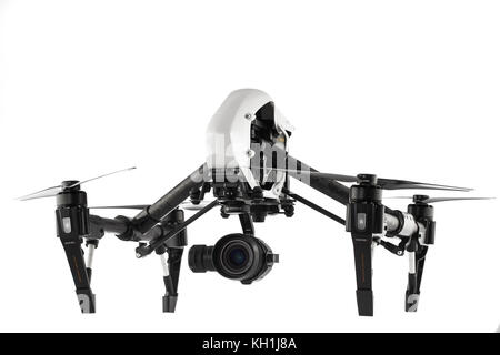 DJI Phantom drone. Aerial video capture. Flying machine