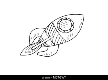 An illustration of a cartoon space rocket ship or space