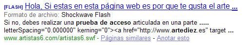 Prueba de que Google ha comenzado a indexar flash