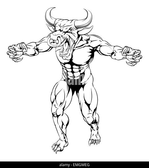 Bull Ripping Through Background Stock Vector