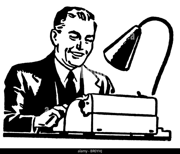 Man Writing And Old Fashioned Desk Black and White Stock