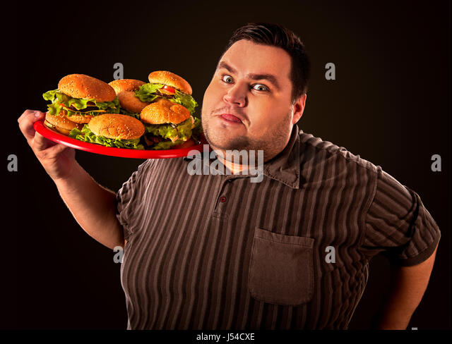Guy Fat Happy Eating Burger