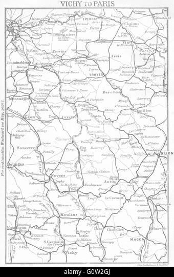 Paris Map 19th Century Stock Photos & Paris Map 19th