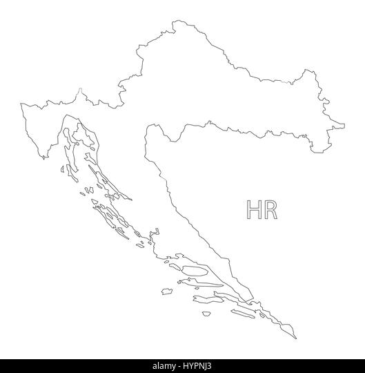 Outline Map Country Croatia Stock Photos & Outline Map