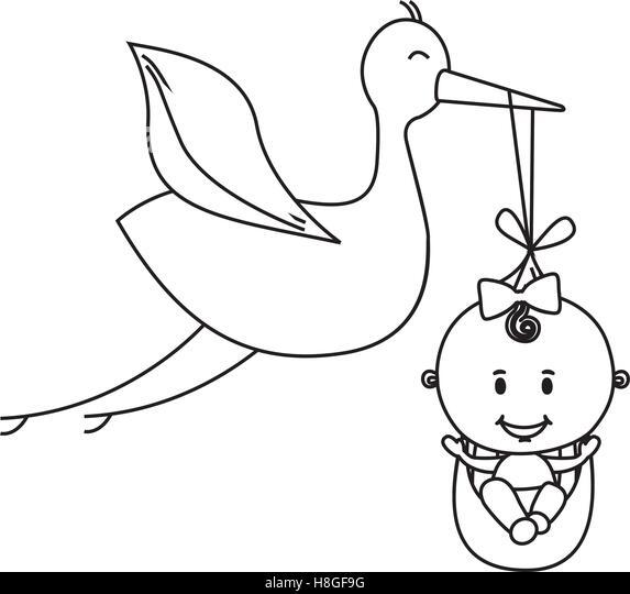 Stork With Baby Stock Vector Illustration Of Beak