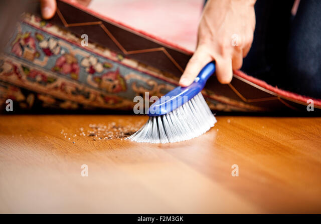 Cleaning Woman Sweeping Under Carpet Stock Photos