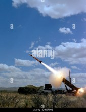 A MIM-104 Patriot anti-aircraft missile is fired during a training exercise. - Stock Image